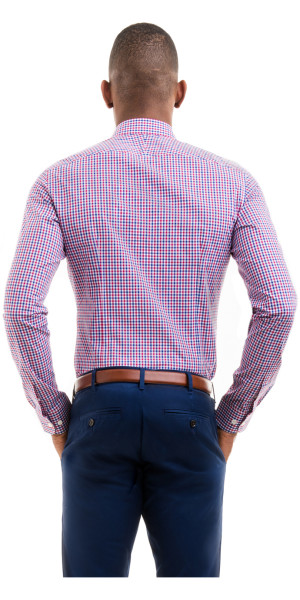 Blue And Red Gingham Broadcloth Custom Dress Shirt | Black Lapel