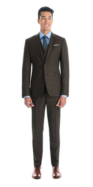 Charcoal Brown With Blue Overcheck Custom 3 Piece Suit | Black Lapel