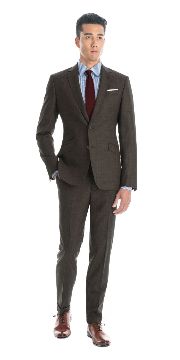 Charcoal Brown With Blue Overcheck Custom Suit | Black Lapel