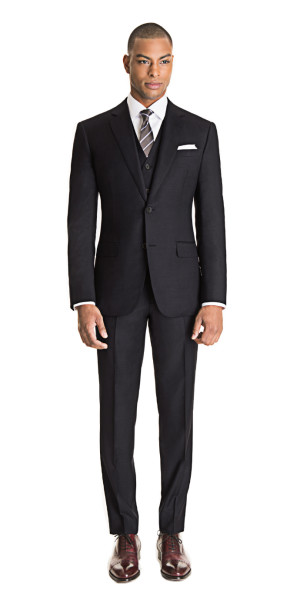 Charcoal Gray 3-Piece Suit | Black Lapel