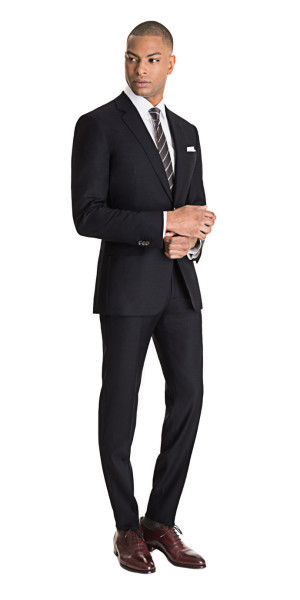Charcoal Gray Custom Suit | Black Lapel