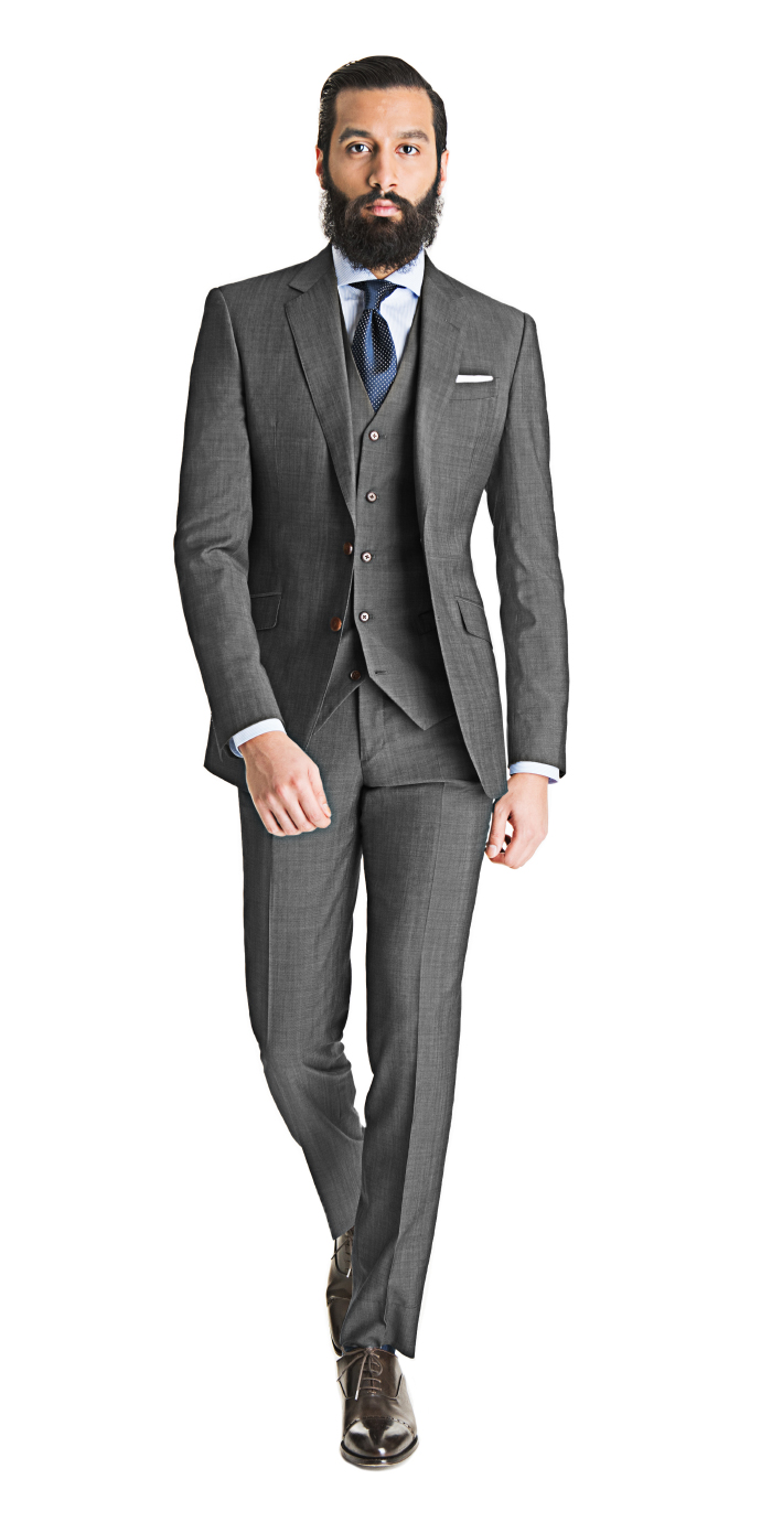 Cool Gray 3-Piece Suit | Black Lapel