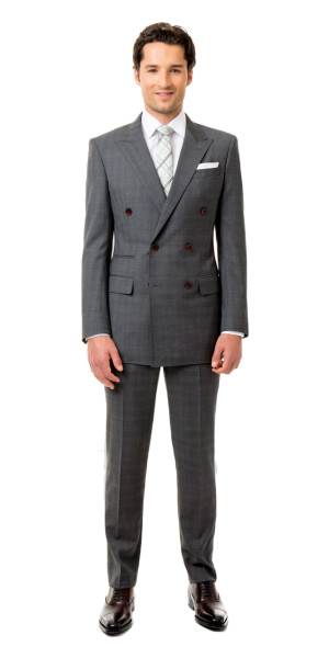 Gray Glen Plaid Custom Double Breasted Suit | Black Lapel