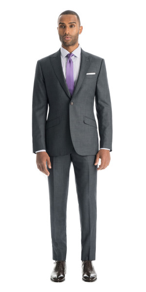 Gray With Purple Windowpane Custom Suit | Black Lapel
