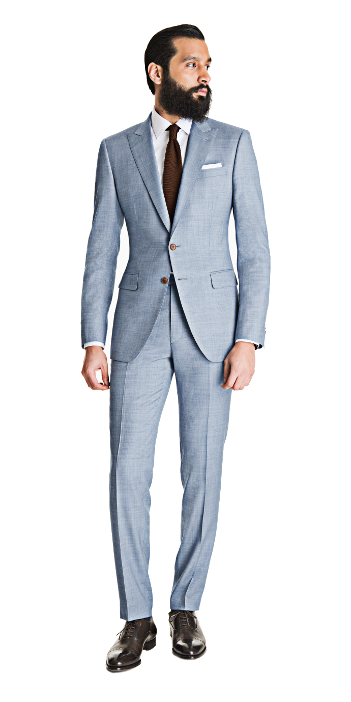 Light Blue Gray Sharkskin Suit | Black Lapel