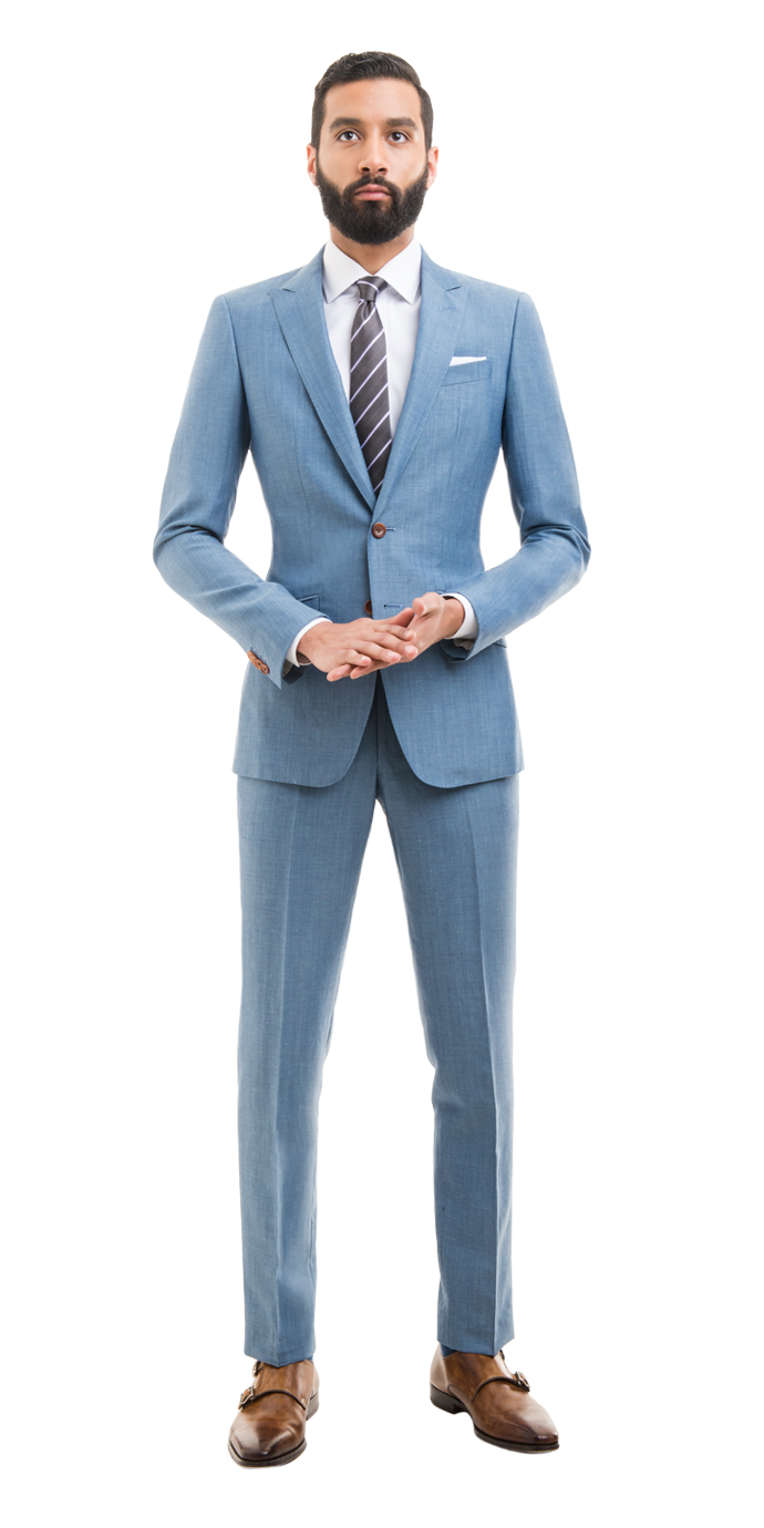 Light Blue Linen Blend Custom Suit | Black Lapel
