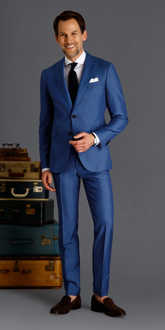 Custom Blazer in Harbor Blue Hopsack - Savoy Line | Black Lapel