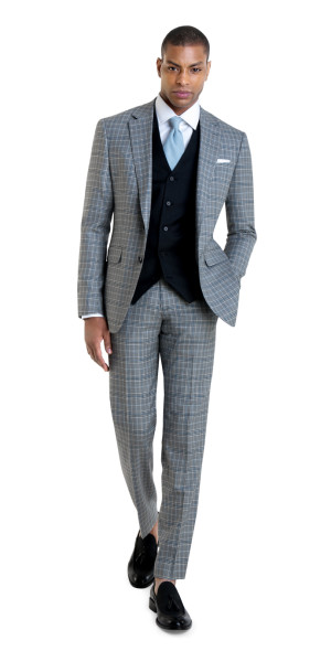 Custom Suit in Light Gray with Blue Check | Black Lapel
