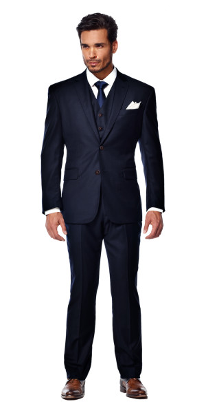 Midnight Blue Custom 3 Piece Suit | Black Lapel