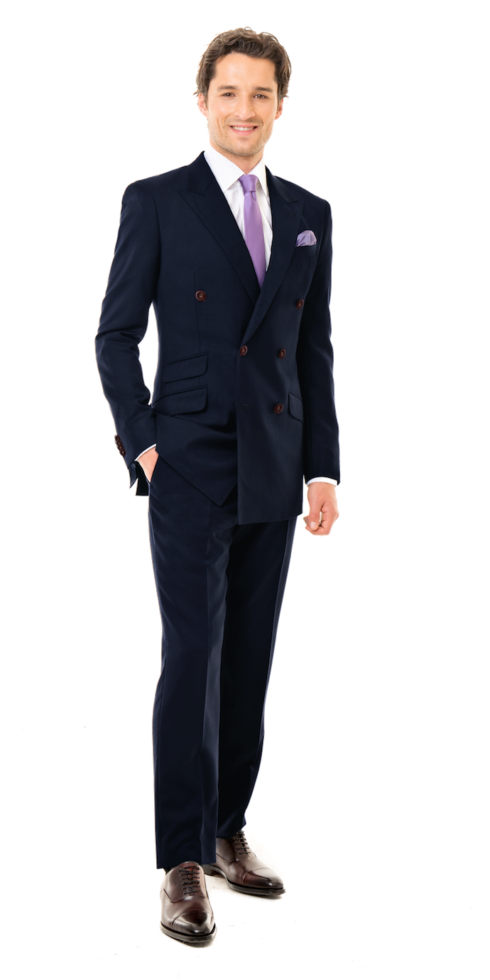 Midnight Blue Custom Double Breasted Suit | Black Lapel