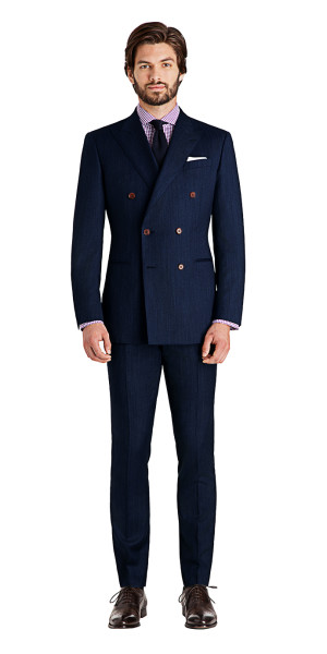 Rivington Dusk Blue Custom Double Breasted Suit | Black Lapel