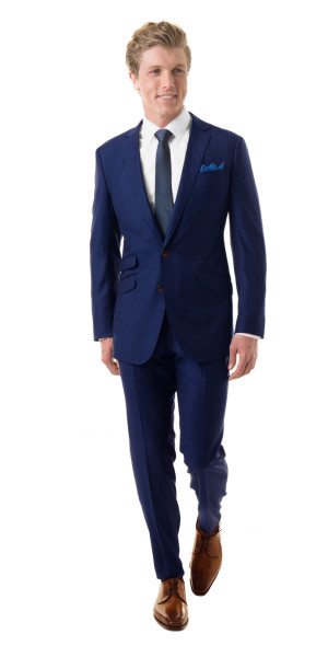 Royal Blue Custom Suit | Black Lapel